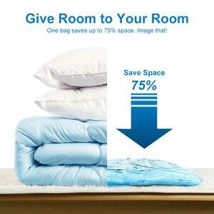 Image 3 - Sacs sous vide pour vêtements, sac de rangement avec pompe manuelle pour rangement de vêtements, sac de rangement sous vide compressé