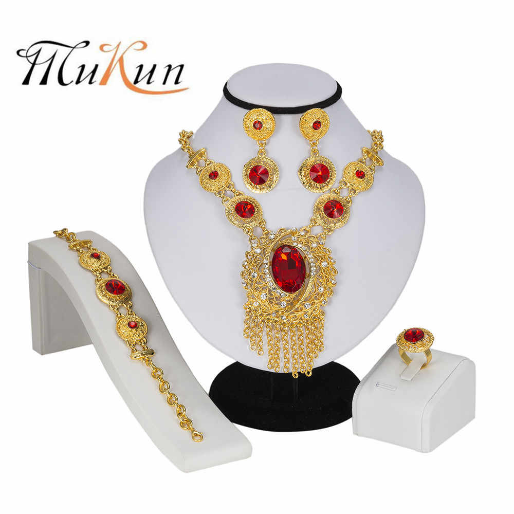 MUKUN Dubai Heart Jewelry Set Crystal Tassel Gold Color Nigerian Bridal Wedding African Beads Jewellery Parure Bijoux Femme
