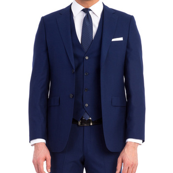 Formal Occation Royal Blue Prom Men Suit For Wedding Groom Tuxedos Groomsmen Blazer Simple Stylish 3Pieces (Jacket+Pant+Vest)