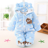 Cute Autumn Winter Cotton Polyester Baby Romper Long Sleeve Coverall Hooded Infant Jumpsuit With Bear Logo