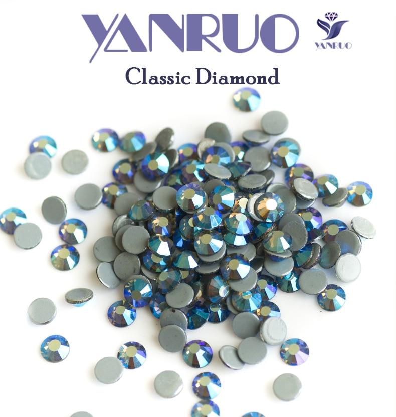 YANRUO 2058HF Black Diamond AB Flat Back Strass Hotfix Rhinestones ... ed95587f0d80