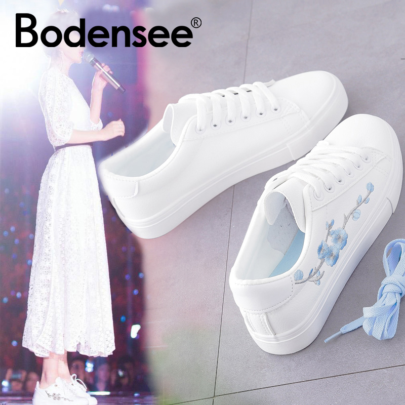 BODENSEE White Sneakers Breathable Flats Women Canvas Shoes Lace-up Flower Casual Ladies Shoes Woman Tenis Feminino hot brand woman sneakers white woman shoes front lace up casual shoes woman flats rivets embellished stylish sapato feminino