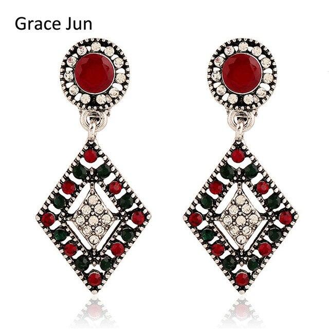 Grace Jun Vintage Style Multicolor Rhinestone Drop Clip On Earring No Pierced For Women Fashion Square
