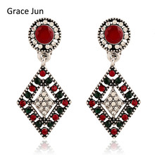 Grace Jun Vintage Style Multicolor Rhinestone  Drop Clip on Earring No Pierced for Women Fashion Square Style No Hole Ear Clip