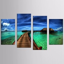HOT SALE 4 Pieces/set Sea Scenery With Beach Wall Art For Decor Home Decoration Picture Paint on Canvas Prints Painting