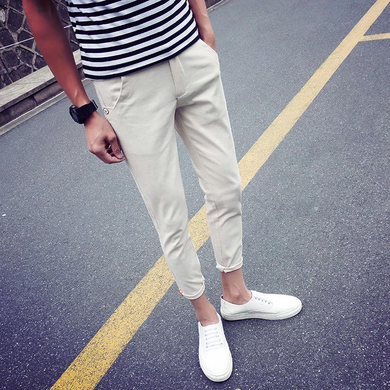 Casual Pant Harem Men's Trousers Stretch Slim-Fit Ankle-Length Male Plus-Size Summer