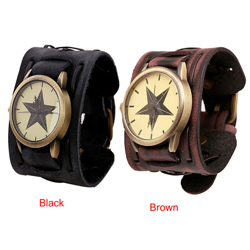 New Style Retro Punk Rock Brown Big Wide Leather Bracelet Cuff Men Watch Cool Brand New