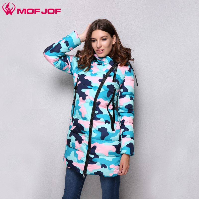 MofJof 2017 Winter Women Parka Hooded Long Camouflage Cotton Thick Women Jacket Outwear Warm Padded New Fashion Women Coat 210# new arrival 2014 winter camouflage military long thick padded down jacket women s fashion hooded stitching cotton overcoat h2871