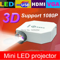 Drop shipping !  newest hd LED Mini Pocekt Projector With HDMI+USB+SD+VGA Inputs support 1080p projector