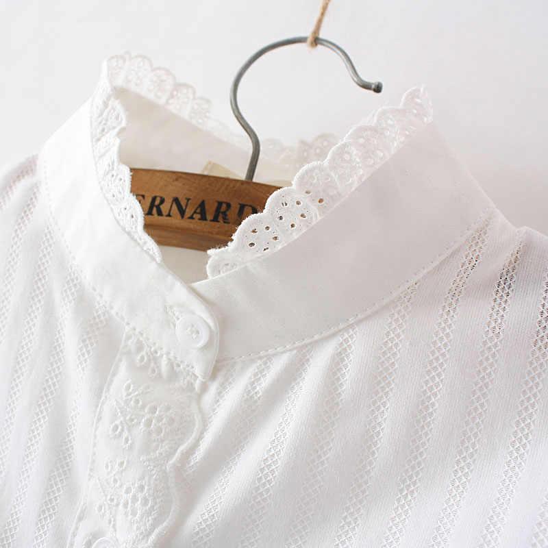 נשים תחרה לבנה קיץ אביב ארוך שרוול פרע 100% כותנה Slim רך חולצה חולצות 0.15Kg