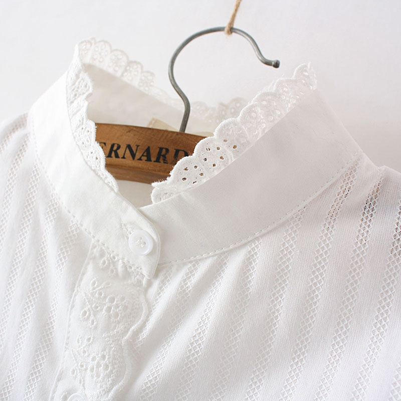 Women Lace White   Shirts   Summer Spring Long-sleeve Ruffled 100% Cotton Slim Soft   Blouse   Tops 0.15 Kg