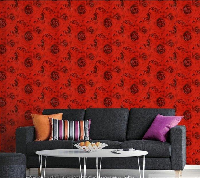 ФОТО new 2016 Hot sell modern Chinese style bedroom room marriage room TV background wall Rural red roses wallpaper 3d simulation