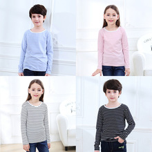 Autumn & Winter Girls & Boys Long Sleeve Girls T-shirts Striped Tee Shirt Cotton Boys Tops For Kids Clothing
