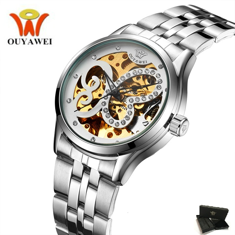 Silver Steel Band Self wind Mechanical Butterfly Hollow Women Skeleton WatchB Ladies Automatic Wrist watch Gifts for Women's