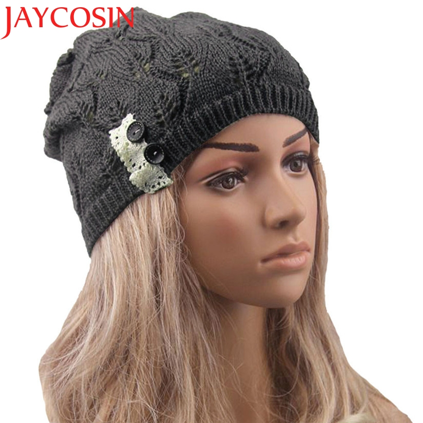 JAYCOSIN Hot Skullies Beanies Winter Hat Hollow Out Caps For Women Girl Vintage Warm Spring Autumn Hat Female Drop Shipping skullies