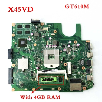 X45VD GT610M 1GB N13M-GE6-S-A1 With 4GB RAM mainboard For ASUS X45V X45VD Laptop motherboard 60-NROMB1101-C05 free shipping