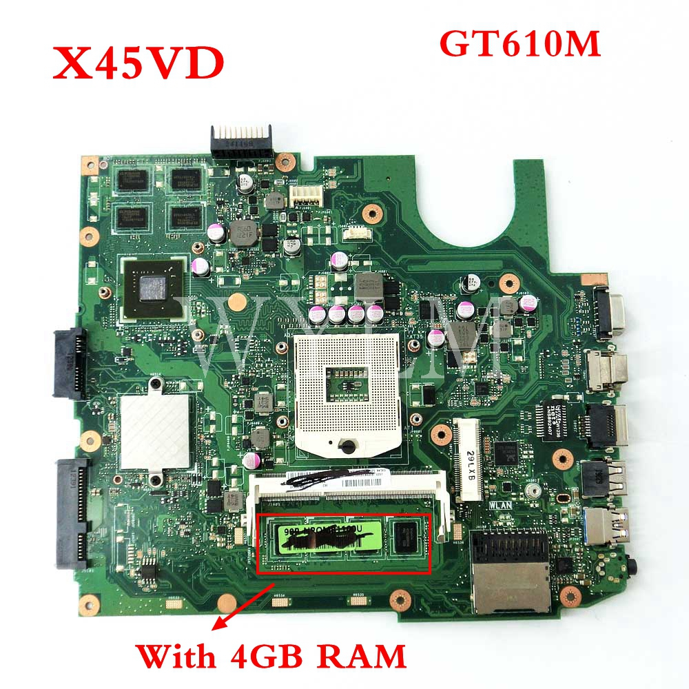 free shipping X45VD GT610M 1GB N13M-GE6-S-A1 With 4GB RAM mainboard For ASUS X45V X45VD Laptop motherboard 60-NROMB1101-C05