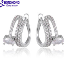 HONGHONG 2017 Cubic Zirconia Simple Trendy Earrings for women clip on Earrings Gifts for girls fashion Jewelry