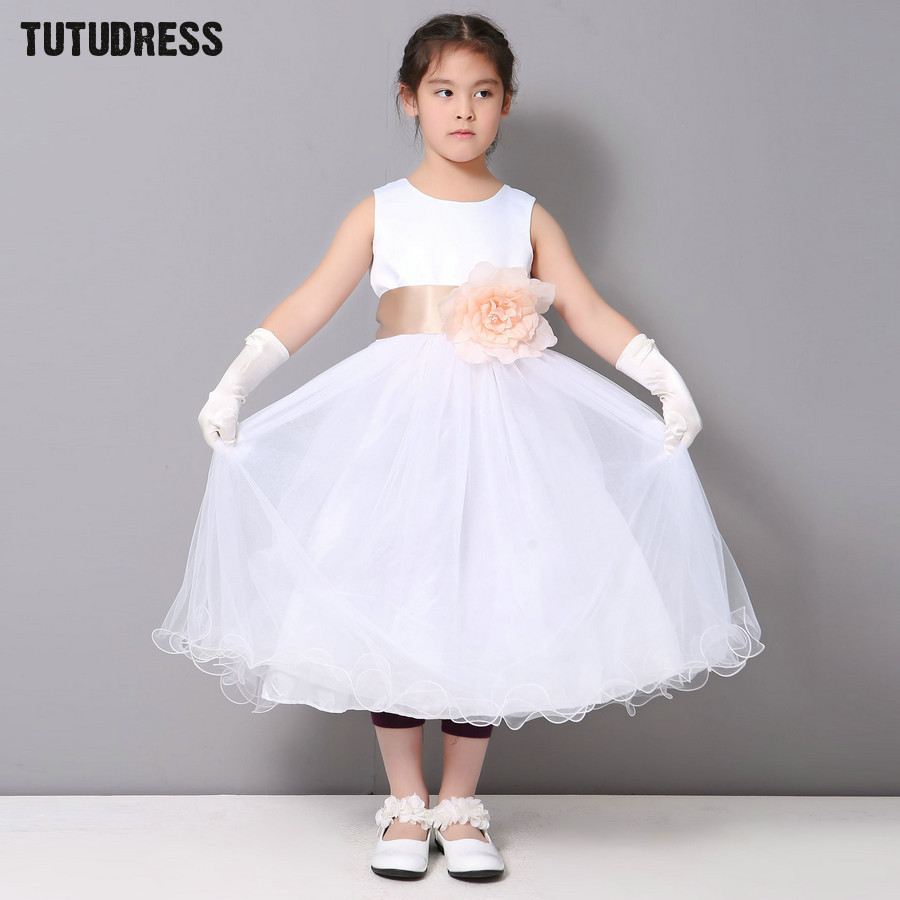 New Summer Girls Dress White Bridesmaid Flower Girl Dresses For Wedding Party Kids Clothes Sleeveless Children Princess Dress