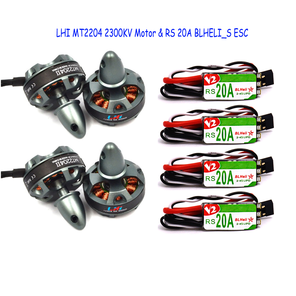 4x 2204 2300KV Brushelss Motor for QAV 250 210 180 220 Quadcopter +4xRacerstar RS20A Lite 20A Blheli-S BB1 2-4S Brushless ESC 4pcs 20a blheli s 2 4s esc 4pcs mt2204 2204 2300kv brushless motor cw ccw for chameleon fpv frame 220 floss 215mm quadcopter