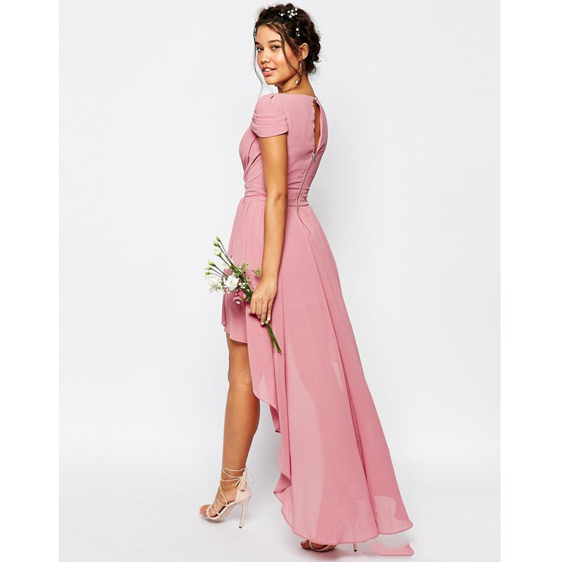 2016 Nueva Moda Rosa Verde Menta Gasa Vestidos de dama de Honor ...