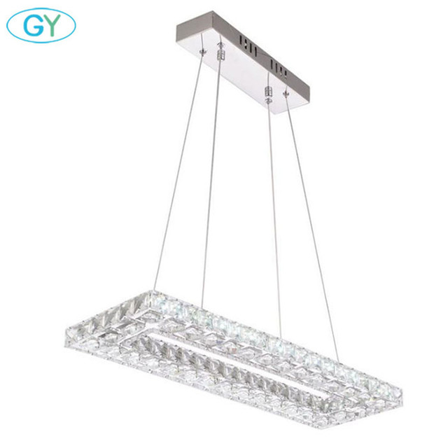 Modern 60*20cm rectangle led crystal chandeliers 32W stainless steel + clear crystal lustres lamp LED luminaires home fixture