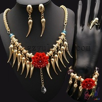 YULAILI Free Shipping 18 Karat Gold Color Fashion African Women Costume Four Jewelry Set