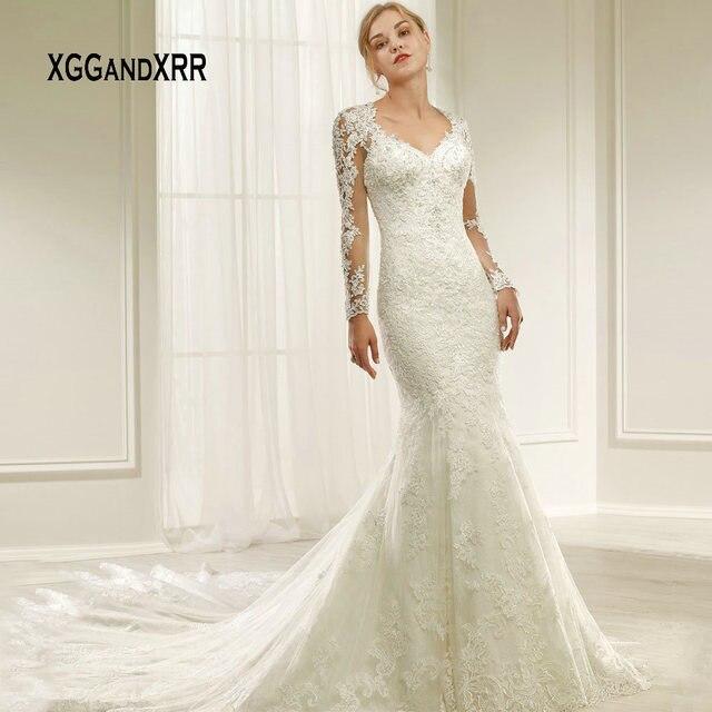 Luxury Mermaid Wedding Dress 2019 Lace Long Sleeve Bride Dress Scoop Illusion Back Applique Boho vestido de noiva White gelinlik