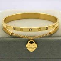 Design de marca de luxo pulseira feminina pendurado coração rótulo para sempre amor pulseira titânio aço pulseira & pulseiras para mulher jóias