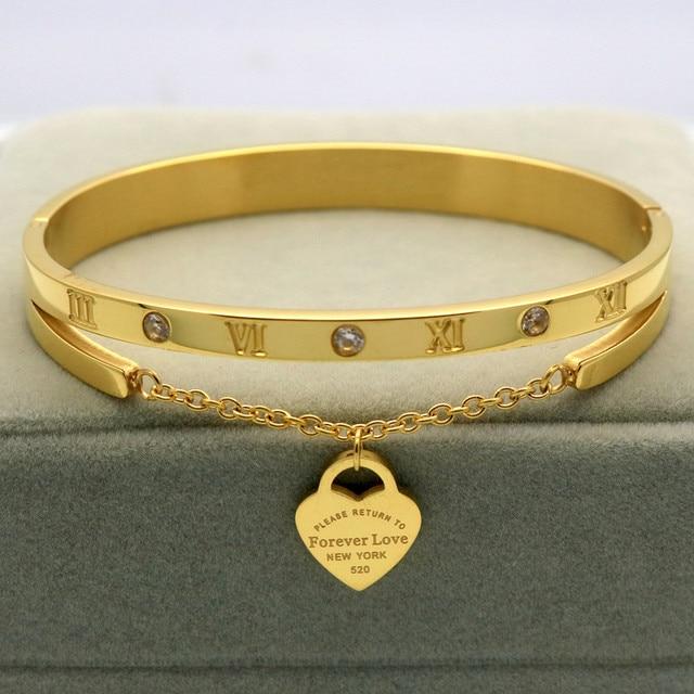 094e021c7bf5 Diseño de marca de lujo pulsera mujer colgante corazón etiqueta para  siempre amor Pulseira titanio acero