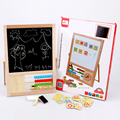Double Faced Magnetic Letters Puzzle Wooden Multifunction Drawing Writing Board Blackboard Sketchpad Toys For Children Gift