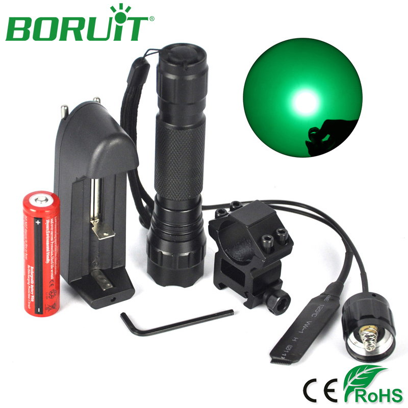 все цены на BORUiT XPE Q5 LED Flashlight Green Light 520nm Portable Camping Hunting Flash Light Lantern Tactical Torch Light 18650 Battery онлайн