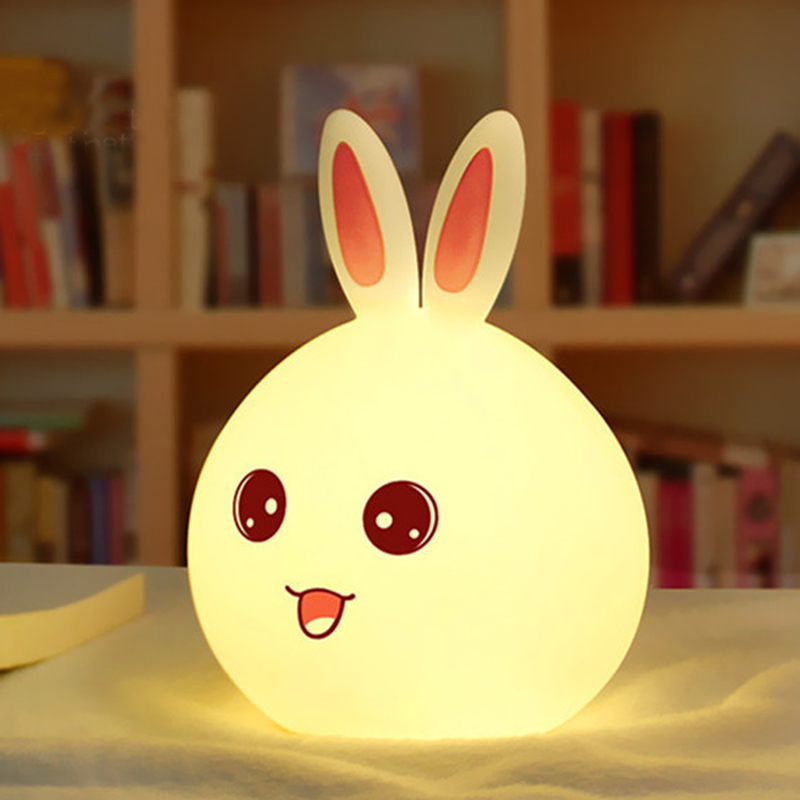 New Cute Rabbit LED Night Light For Children Baby Kids Bedside Lamp Multicolor Silicone Touch Sensor Tap Control Nightlight Gift