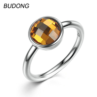 BUDONG 925 Sterling Silver Rings For Women Fine Jewelry Simple Solitaire Yellow Topaz Round Lover Engagement