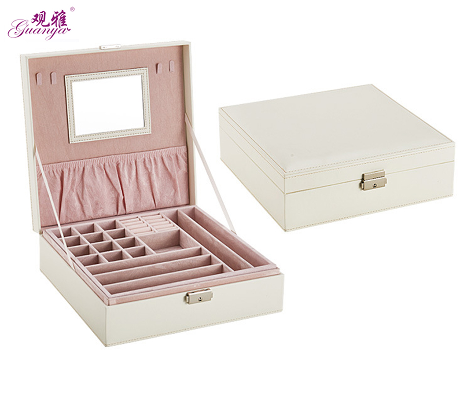 Guanya fashion 2 layer mirror Double jewelery storage box Crocodile pattern PU leather jewelry box
