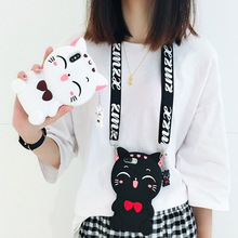 lucky cat shoulder strap silicone case for iphone XS MAX XR X 6 6S 7 8 plus cover cute 3d cartoon shockproof soft phone bag