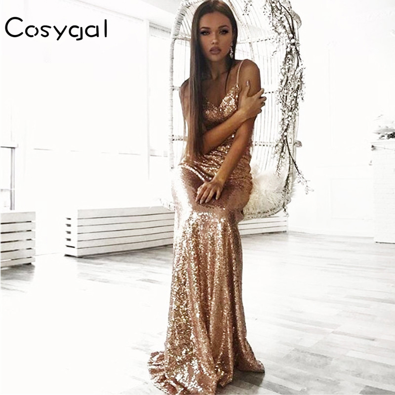 64a9903531943 Big Sale] COLROVIE Rose Gold Sequin Party Maxi Dress Sexy Backless ...
