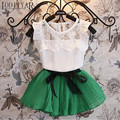 Baby Girls Clothing Set Lace Flower Girls Blouse + Bow Pleated Skirt Children Clothing Set White Floral Shirt Girl Clothes
