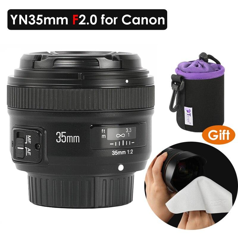 YONGNUO YN35mm F2 1:2 AF MF grand angle fixe pour Canon EF EOS caméra 5DIV 7DII 5DII 60D 6D Kit de nettoyage de sac d'objectif gratuit