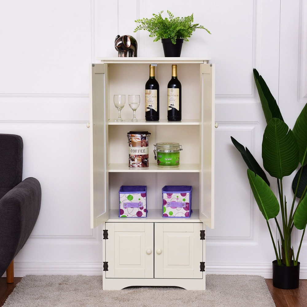 Awesome Giantex Accent Storage Cabinet Living Room Adjustable Shelves Antique 2 Door Floor Cabinet White Modern Wood Cabinets Hw56627 Interior Design Ideas Clesiryabchikinfo