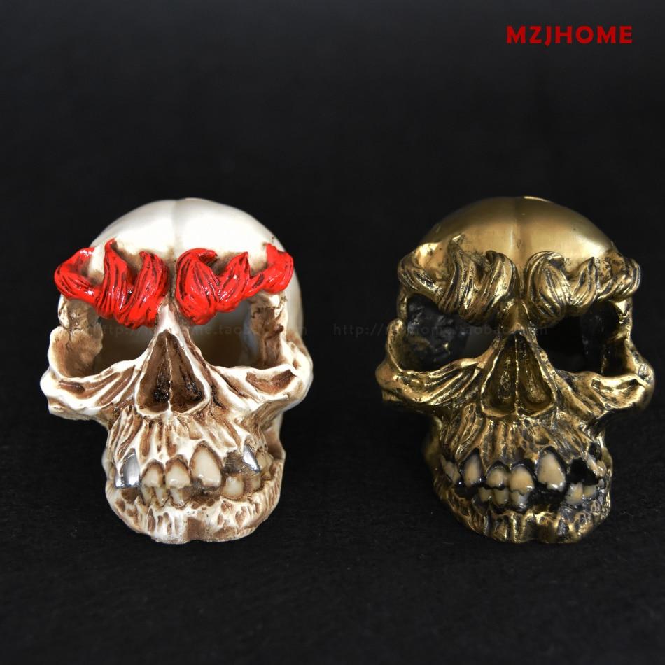 modern a Home American retro sculpture Golden skull shape punk terror Bar decoration Halloween skull props christmas