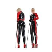 Latex Rubber Women Suit Red and Black Catsuit Full body Bodysuit Sports uniforms Size XXS XXL