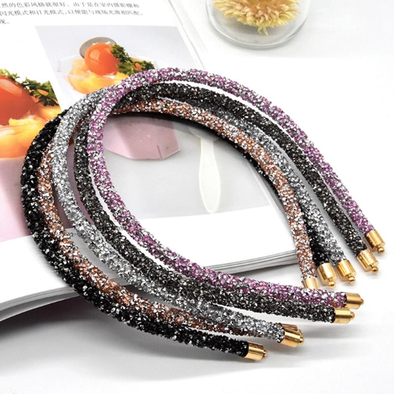 New Thin Rhinestone Hairband Ladies Women Crystal Turban Shiny Headbands Ornaments Luxury Hair Hoop Accessories