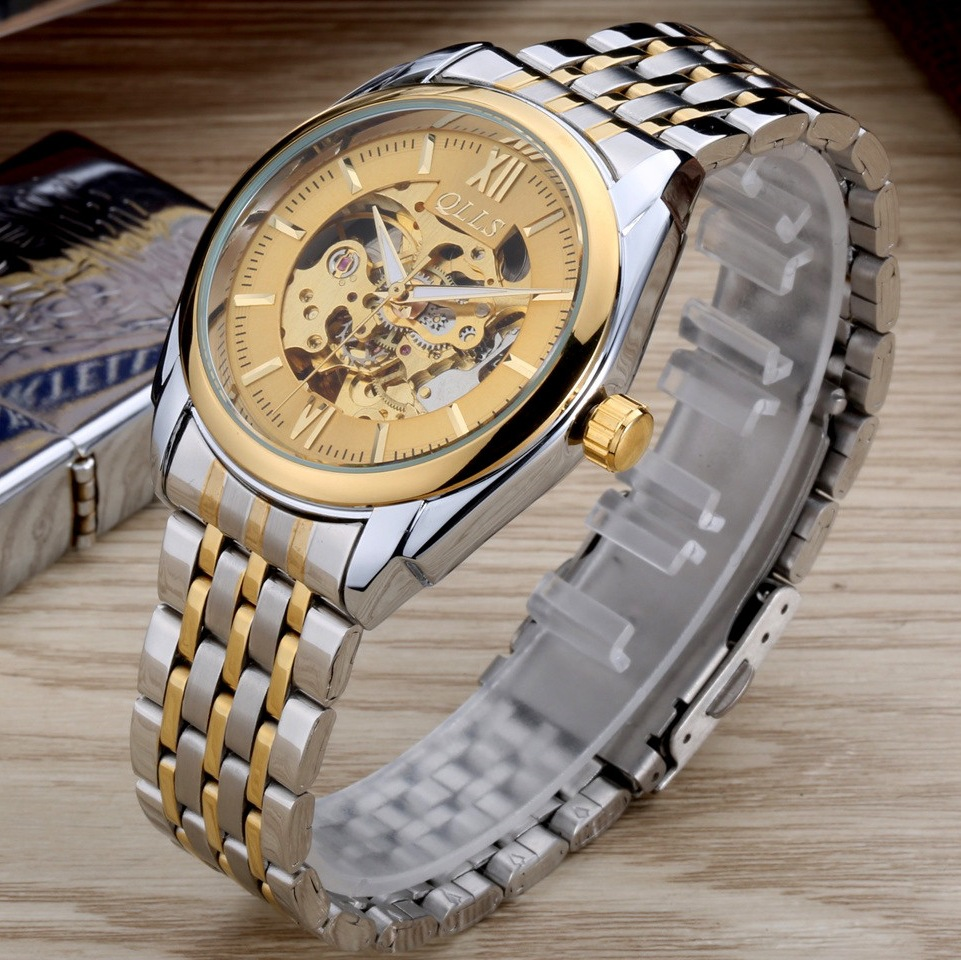 QLLS skeleton watch mens watches automatic self-wind waterproof watch man clock gold mechanical watch relogio masculino mecanico women favorite extravagant gold plated full steel wristwatch skeleton automatic mechanical self wind watch waterproof nw518