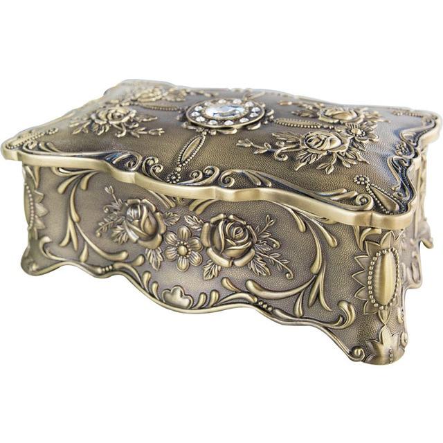 Size XL Vintage Metal Art Jewelry Storage Box Double Layers Jewelry Displays Flower Carved Stone Decor