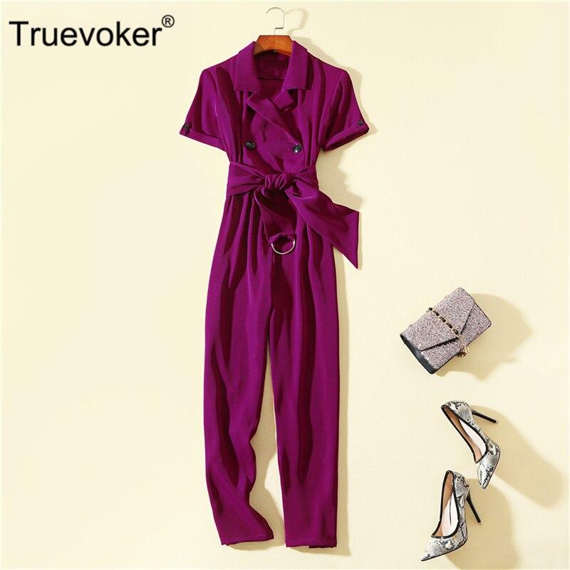 Kind-Hearted Truevoker Summer Designer Overalls Womens High Street Fashion Sky Blue Casual Brife Strap Long Jumpsuit Women's Clothing