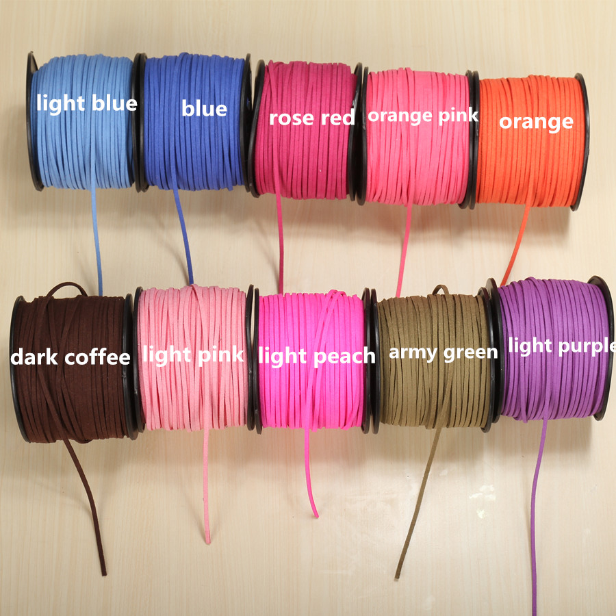 80m/roll 3mm Flat Suede Leather Cordon Cord Rope Korean Velvet Beading Braided Thread For Necklace Bracelet Jewelry Making Diy