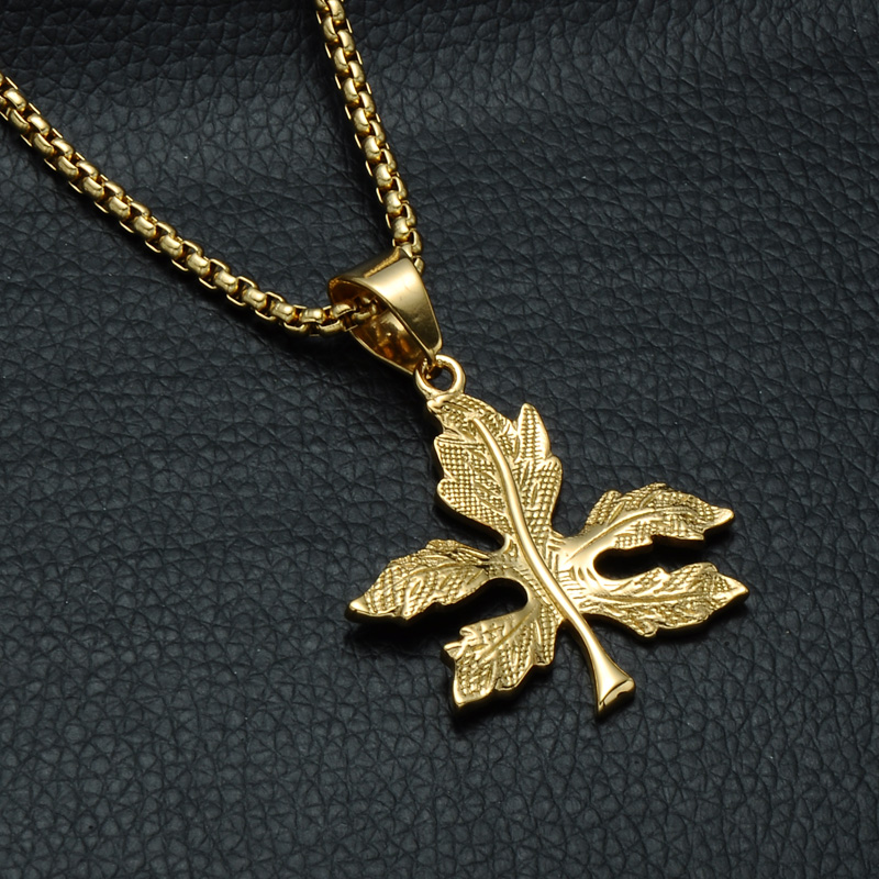 HIP Hop Titanium Bling Gold Color <font><b>Cannabiss</b></font> Maple Leaf Charm Necklaces & Pendants for Men Women Trendy Jewelry image