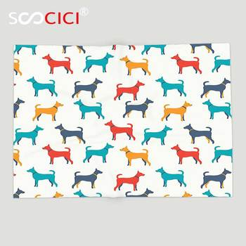 Custom Soft Fleece Throw Blanket Dog Lover Decor Contemporary Colorful Illustration Of Dog Figures With Contours in Retro Style