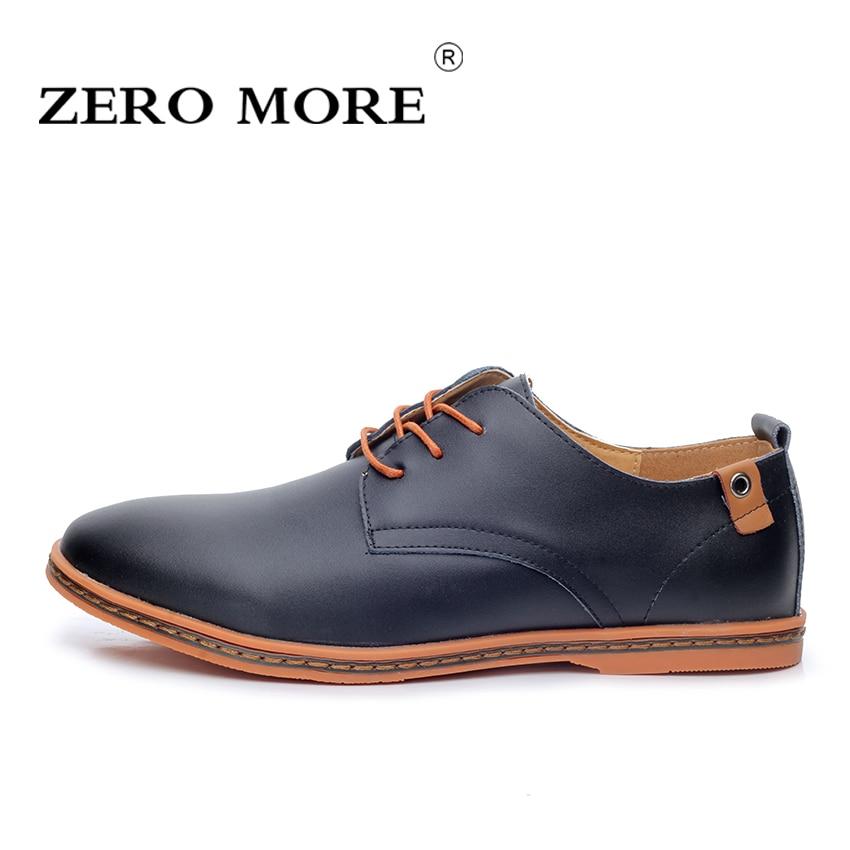2017 Genuine Leather Men Shoes ZERO MORE Fashion Men Flats Round Toe Comfortable Office Men Dress Shoes Plus Size 38-48 #ZM26